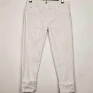 Hudson Muse Skinny Cuff Crops White Size 29